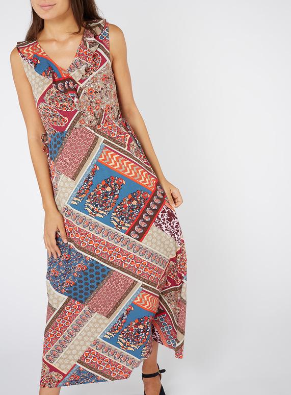 Multicoloured Patchwork Print Maxi Dress
