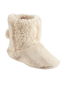 Cream Patchwork Pom Pom Slipper Boots