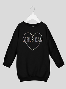 Black Heart Logo Sweater Dress (3-14 years)