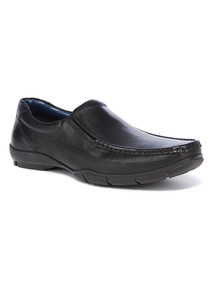 Sole Comfort Black Leather Slip On Shoes