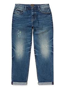 Distressed Mid Wash Denim Straight Leg Jeans