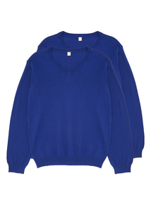 Unisex Blue V Neck Jumper 2 Pack (13-16 Years)