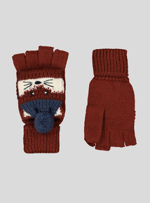 Brown Fox Fold-Over Mitten Gloves (2-10 Years)