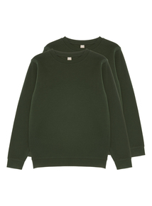 Unisex Green Crew Sweatshirts 2 Pack (13-16 Years)
