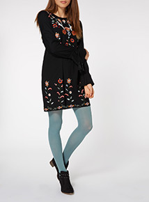 Black Floral Embroidered Crane Tunic