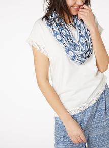 Multicoloured Tassel Trim T-Shirt and Printed Scarf Set