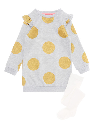 Grey Gold Spot Sweat Dress (9 months-6 years)