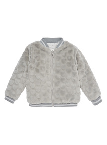 Grey Heart Faux Fur Bomber Jacket (0-24 months)