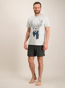Christmas Reindeer Grey Pyjama Set