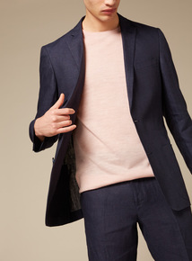 Premium Navy Deconstructed Linen Jacket