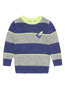 Blue Rocket Badge Stripe Jumper (3-14 years)