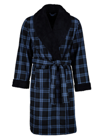 Navy Fleece Lined Check Dressing Gown