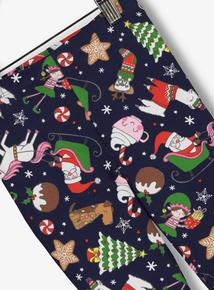 Navy Christmas Santa Print Leggings (7-14 years)