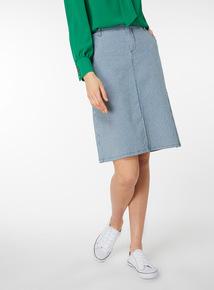Denim Stripe A Line Skirt