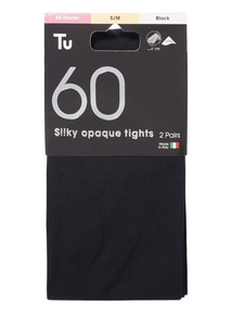 Black 60 Denier Silky Opaque Lycra Tights 2 Pack