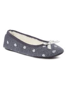 Blue Polka Dot Ballerina Flats