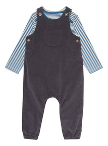 Navy Two Pack Dungaree and Blue Stripe Bodysuit