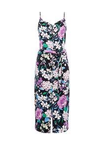 Multicoloured Floral Printed Button Through Cami Dress