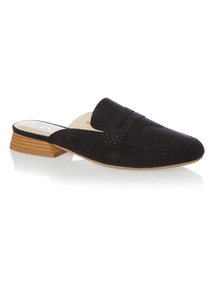 Black Slip On Mule Loafers