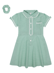 Girls Green Generous Fit Classic Gingham Dress (3-12 years)