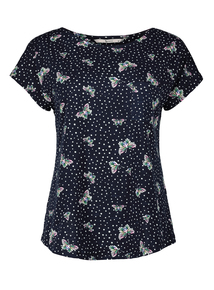 Multicoloured Butterfly Dot Capped Sleeve T-Shirt