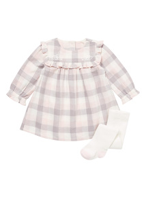 Pink Check Woven Dress and Tights Set (0-24 months)