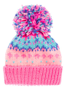 Pink Bright Over Sized Pompom Beanie (3-12 Years)