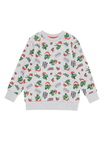 Multicoloured Christmas Dino Sweat Top (3-14 years)