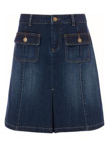 Dark Denim Pleat Skirt