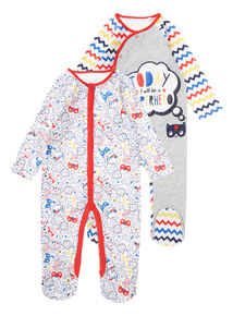2 Pack Multicoloured Hanging Superhero Sleepsuits (0-24 months)