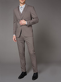 Light Brown Slim Fit Stretch Suit Trousers