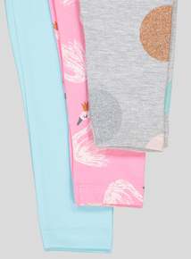 Multicoloured Swan Print Leggings 3 Pack (9 months-6 years)