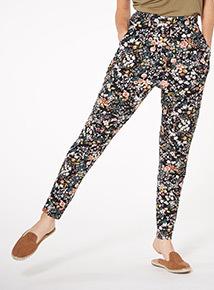 Black Floral Drapey Trousers
