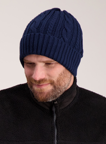 Navy Blue Cable Knit Beanie Hat