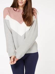 Multicoloured Chevron Colourblock Jumper