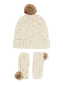 Girls Cream Lurex Cable Knit Set