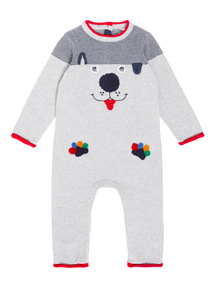 Grey Knitted Dog Romper (0-24 months)