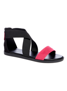 Black and Pink Cross Strap Sandals