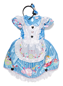 Girls Blue Disney Alice in Wonderland Costume (3-10 years)