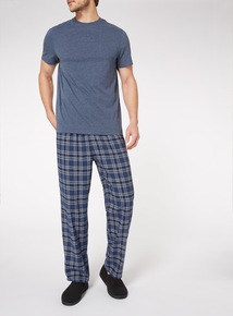 Blue Short Sleeve T-Shirt And Checked Trousers Set