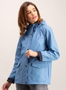 Blue Shower Resistant Raincoat