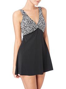 Black Leaf Print Swim Dress