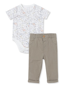 Multicoloured 2 Piece Woven Body and Chino Set (0-24 months)