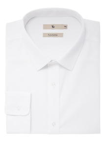 White Twill Cotton Tailored Fit Shirt