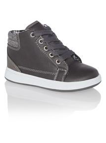 Boys Grey High Top Boots