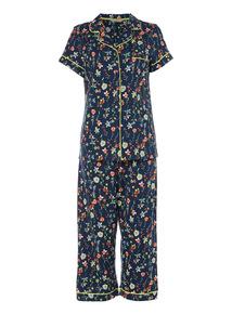 Navy Floral Woven Pyjama Set