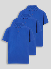 Unisex Royal Blue Polo Shirts 3 Pack (3-12 years)