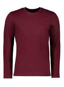 Burgundy Crew Neck Long Sleeve T-Shirt