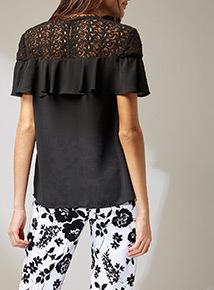 Premium Black Lace Yoke Top