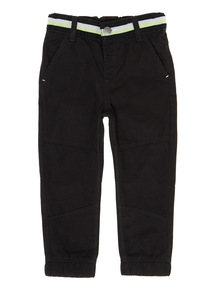 Boys Black Striped Waist Jogging Bottoms (9 months-6 years)